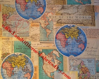 World Maps on Cotton Cartography Fabric - By the Fat Quarter, Half Yard or Yard