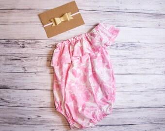 Pink One Shoulder Ruffle Baby Romper- Pink Floral romper, Spring outfit, Easter romper, Easter outfit, Vintage inspired romper, pink roses