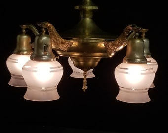 Five Light Pan Light, Vintage Brass Ceiling Light with Shades, Antique Ceiling Fixture