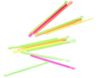 "8 "" Neon Spoon Straws wrapped - 200ct"