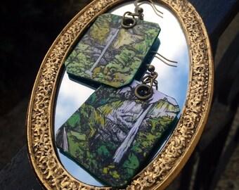Latourell Falls - pdx hand-painted earrings - Portland, Oregon waterfall