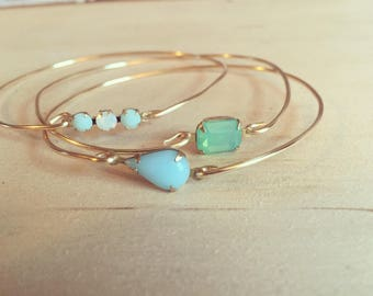 Gemstone bangle bracelet, bangle bracelet, gemstone bracelet, stackable bracelets