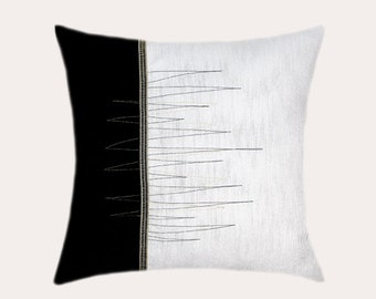 """Decorative Pillow Case, Black-White Throw pillow case with gold-black accent, fits 18""""x18"""" insert, Toss pillow case."""