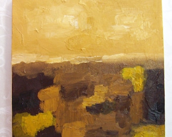 Original OIL Abstract Painting - HARVEST - 10 x 10