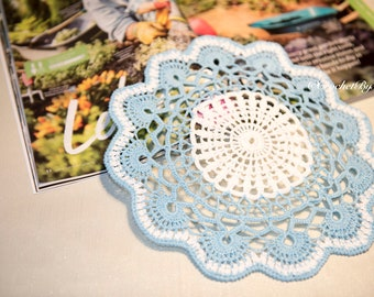 Beautiful Crochet Doily Blue and White, Round crochet doily, Home decor, Vintage, Coaster, bedroom, leaving, kitchen, Handmade Gift