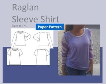 T-Shirt Raglan - tailles dames, femmes en tailles XS, S, M, L, XL, 2XL, 3XL, 4XL, - papier imprimé couture modèle, manches courtes, manches longues, haut