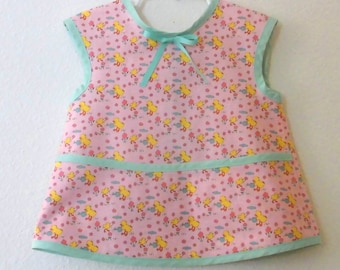 Children's Apron Handmade apron for Girls In Pink with baby Chick's Cotton Smock Apron 4T Ready to Ship