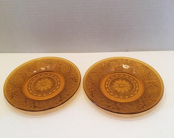 Vintage Anchor Hocking Desert Gold Amber Plates~ Set of Two~ Salad Plate~ Medium Plate