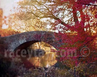 Central Park Print, Red, Nature Photography, Rustic, Orange, Central Park Bridge