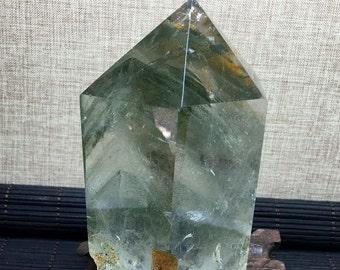 """4.45*2.64""""Rare Large Green Phantom Guartz Plished Tower/Green Phantom Natural Crystal Point/Green Phantom Quartz-794g"""