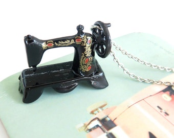 Miniature Vintage Sewing Machine Pendant on Silver Chain