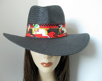 Black Wide Brim Panama Derby Straw Sun Hat with Printed Equestrian Horse Race Fabric Band Sash