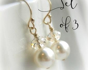 Bridesmaid earrings set of 3 pearl earrings bridesmaid gift Swarovski crystal earrings clear or champagne crystal ivory pearl, white pearl,