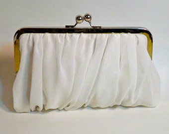 Bridal Clutch or Bridesmaid Clutch Chiffon White or Ivory Customize