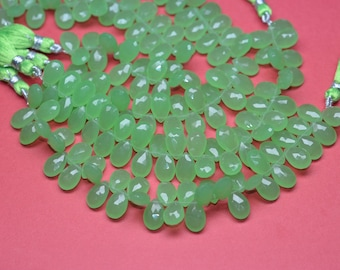 Sale-AAA 7 Inch Strand-All Pairs-9x14mm Vibrant Prehnite Chalcedony Quartz Faceted Pear Briolette Beads-39 Beads