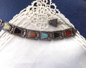 Vintage MIRACLE Bracelet, Multi Colored  Agate Stones, Antiqued Pewter, 7.25 - 9.5 in, 18.4 - 24.1 cm