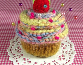 KNITTING PATTERN PINCUSHION Cupcake Needlecraft Cherry Candy Ornament Sewing Amigurumi knit crochet Food pdf Pattern Instant Download