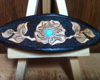 Leather hair clip Wild Rose with Kingman turquoise