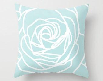 Rose Pillow  - Modern Flower - Mint Blue - Pastel Home Decor -  By Aldari Home