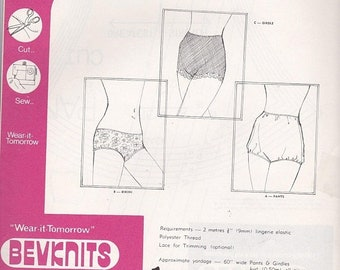 ON SALE 1970s Sewing Pattern - Bevknits 7007 Ladies Panties, Briefs, Underwear Size 10 - 20 Factory folded and complete
