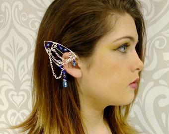 Elf Ear Cuff, Blue and Silver, Elven Jewelry, Elf Ears, Water Fairy, Mermaid, Elf Queen, Fairy Ear Cuff, Silver Cuff, Blue, 2 cuffs