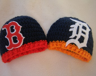 Crocheted Baseball Hats Tigers, Boston,Rangers, Yankee's,  Inspired (You Can Choose AnyTeam) - Made to Order