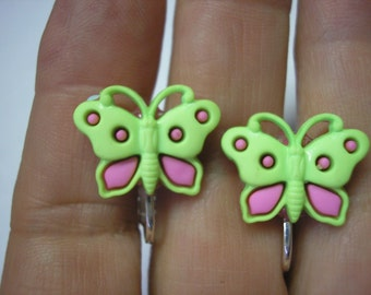 """Play Earring - Clip - Butterfly - Green/Pink - 3/4"""""""