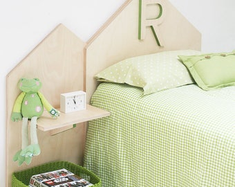 """Headboard single bed with wooden letter-bedroom furniture children line """"BABY ROOM HOME"""""""