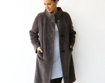 Vintage Winter Coat / Brown Wool Coat / Size M L