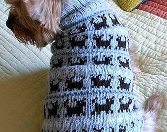 PUPPIES ON PARADE Original Fair Isle Dog Sweater -- Custom -- Hand Knit -- All Sizes
