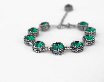 Emerald Bracelet Swarovski Tennis Bracelet Oxidized Silver Emerald rhinestone Tennis Bracelet Green // Swarovski Jewelry Green Jewelry