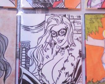 Black cat Spiderman SketchCard by boo rudetoons comic marvel artwork drawing ink