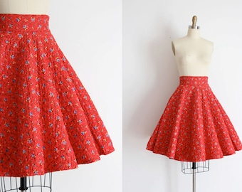 vintage 1950s skirt // 50s red quilted circle skirt
