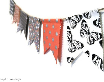 Spring Bunting Banner, Coral & Silver Bunting Banner, Summer Wedding  Banner, Butterfly and Chevron Bunting, Spring Photography Prop