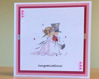 Wedding Card - Cute Wedding Card For A Special Couple - Congratulations On Your Wedding Card, Handmade - Handmade Wedding Card