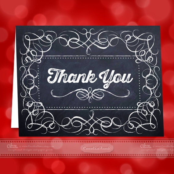 thank you cards, printable thank you cards, chalkboard thank you cards, instant download thank you cards, editable thank you cards, ID125