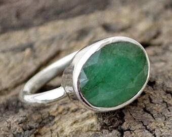 Natural Emerald Gemstone Ring, Oval Faceted Emerald Ring, 925 Sterling Silver Ring, Emerald Ring, May Birthstone Ring, Bezel Set Gift Ring