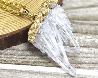Crystal Quartz Druzy Pendants Necklace // Gold Drusy Crystal Necklace // Drussy Quartz Pendant with Gold Electroplated Bail S5B5_02