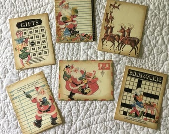 Journal Cards - Christmas - Ephemera - Set of 6