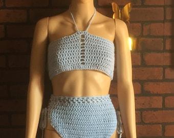 Handmade Crochet Women's (Light Blue) Halter Top Bikini Size Medium