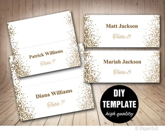Printable Placecards, Place cards Wedding,Gold Wedding Place Cards, Confetti Wedding, Wedding Placecard Template, Gold Place cards