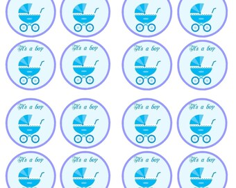 It's A Boy #1, Baby Shower Birth Edible Wafer Rice Paper Cake Cupcake Toppers x 24 PRECUT