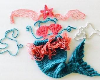 Mermaid Baby set, mermaid costume, 3 piece baby photo prop set, turquoise/coral pink/silver, custom sizes