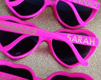 Customized Heart Shaped Sunglasses, Wedding Sunglasses, Bachelorette Sunglasses, Personalized Sunglasses, Heart Sunglasses