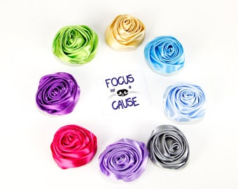 """Small Dog Collar Flower, Rolled Satin Rosette 2"""" in Diameter, For Small Dog or Cat Collar Accessory by Focus for a Cause"""