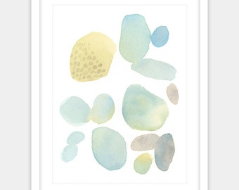 Digital print, abstract watercolor painting print, modern home spring summery beach home decor
