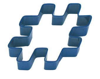 """Hashtag Cookie Cutter Pound Sign Cookie Cutter Social Media Cookie Cutter Blue Cookie Cutter 3"""" RM-863/N"""