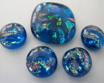 Five Caribbean Blue  Dichroic Glass freeform Cabochons