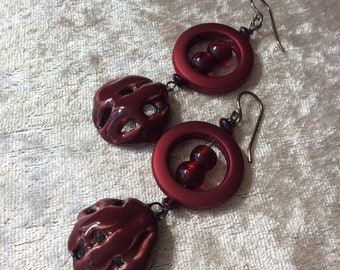 Cherry bowl earrings, Lacy woven ceramic bowl drop earrings, Cherry red earrings