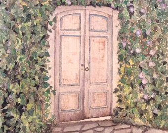 FREE SHIPPING!! ORIGINAL watercolor of old door located in beautiful Carmel, Ca.